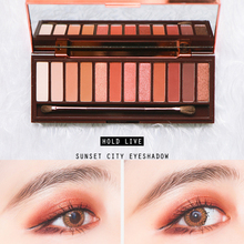 HOLD LIVE Sunset City Matte Eyeshadow Palette Earth Peach Color Shimmer Shadows Korean Makeup 12 Color Pigment Glitter Eyeshadow