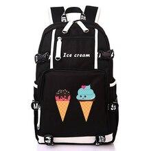 cf4e47108a48a SıCAK SATıŞ dondurma Sırt Çantası Moda Tuval Öğrenci renkli baskı Schoolbag  Unisex Büyük Seyahat Çantaları LaptopBAG