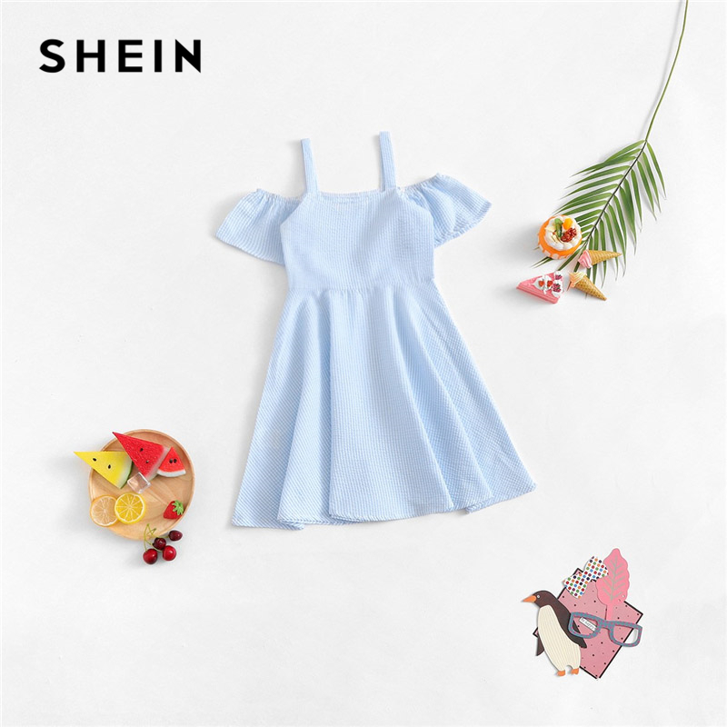 SHEIN Kiddie Blue Cold Shoulder A Line Striped Casual Dress Kids Clothing 2019 Summer Short Sleeve High Waist Girls Dresses applique one shoulder formal dress