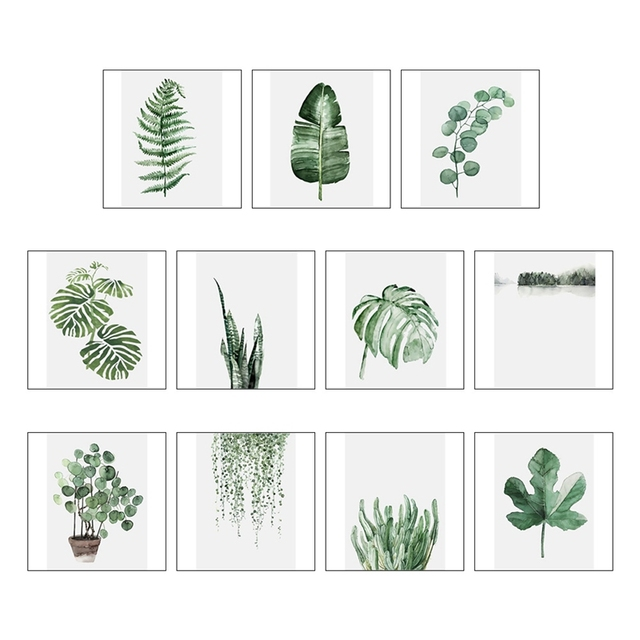 Modern Green Tropical Plant Leaves Canvas Art Print Poster Nordic Green Plant Wall Pictures Kids Room Large Painting No Frame