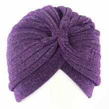 Новое поступление блестящий хиджаб тюрбан шапка однотонная женская