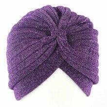 New Arrival Glitter Hijab Turban Cap Solid Color femme musulman Middle East India Headscarf bonnet Muslim Female Headdress Hat