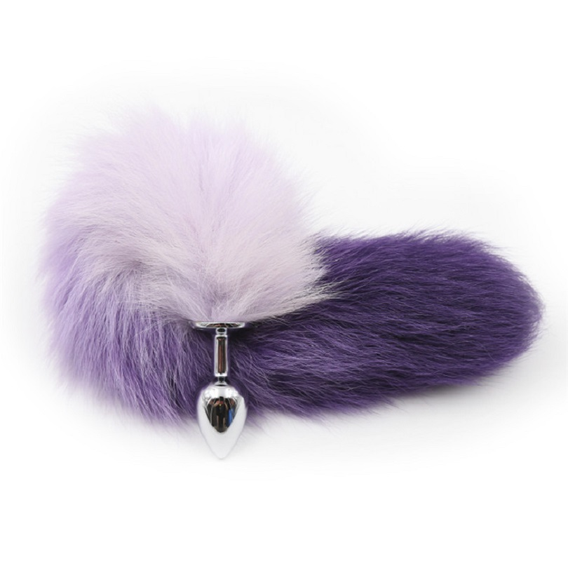 New white pink purple color fox tail small medium large Anal Plug beads Metal Butt plug Role Play Flirting Fetish sex Toy Women