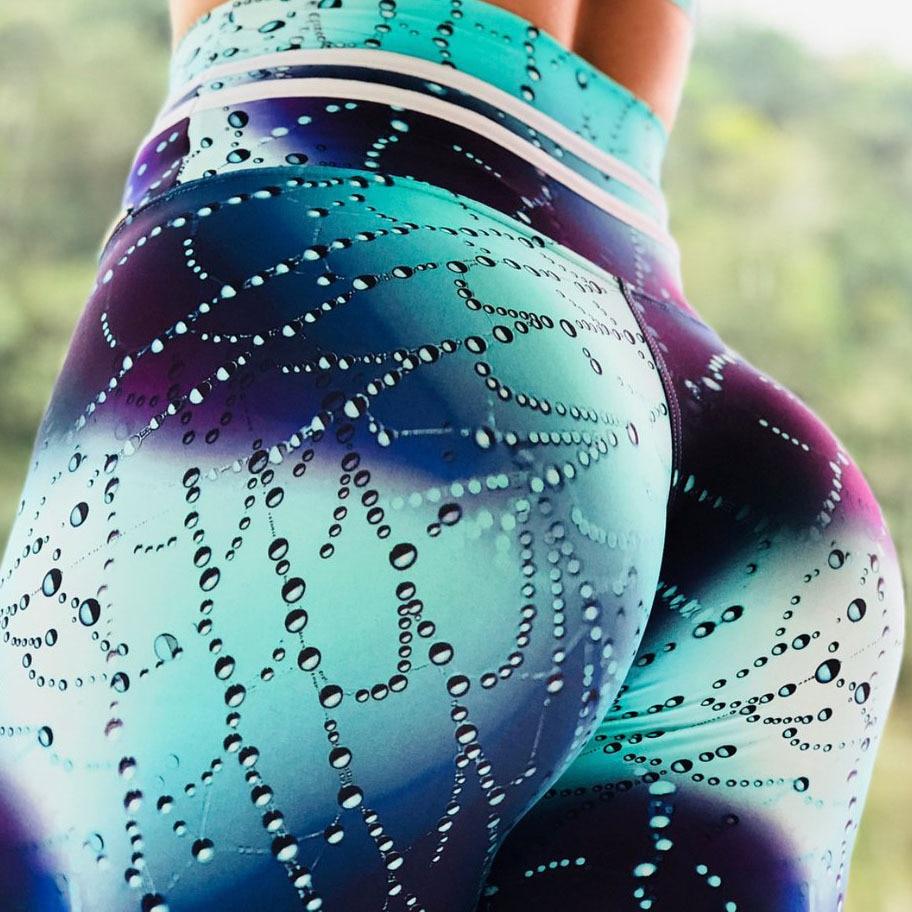 2018 Neue Frauen Schwitzen Leggings Blau Wasser Tröpfchen Gedruckt Frauen Fitness Leggings Booty Dünne Jeggings Leggins Drop Schiff