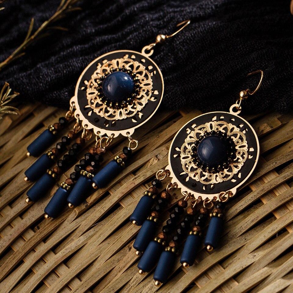 Fashion black crystal tassel earrings with stones kolczyki wooden pendant french earrings for women&girls drop earings jewelry