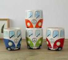 Hand Painting Cartoon Double Decker Bus Mug