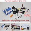 Автомобильная Стоянка Датчики + Камера Заднего вида = 2 в 1 визуальное/BIBI Сигнализации Парковочная Система Для Skoda Rapid Sedan 2012 ~ 2015
