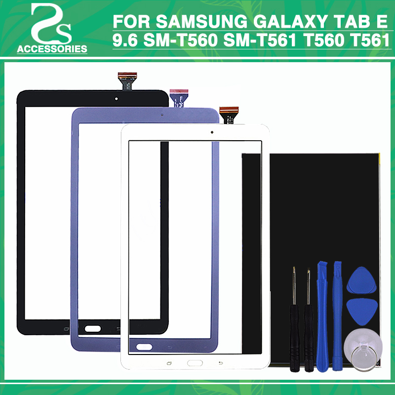 New t560 lcd touch Panel For Samsung Galaxy Tab E 9.6 SM-T560 SM-T561 T560 T561 Touchscreen Display Sensor Glass Lens Panel+Tool