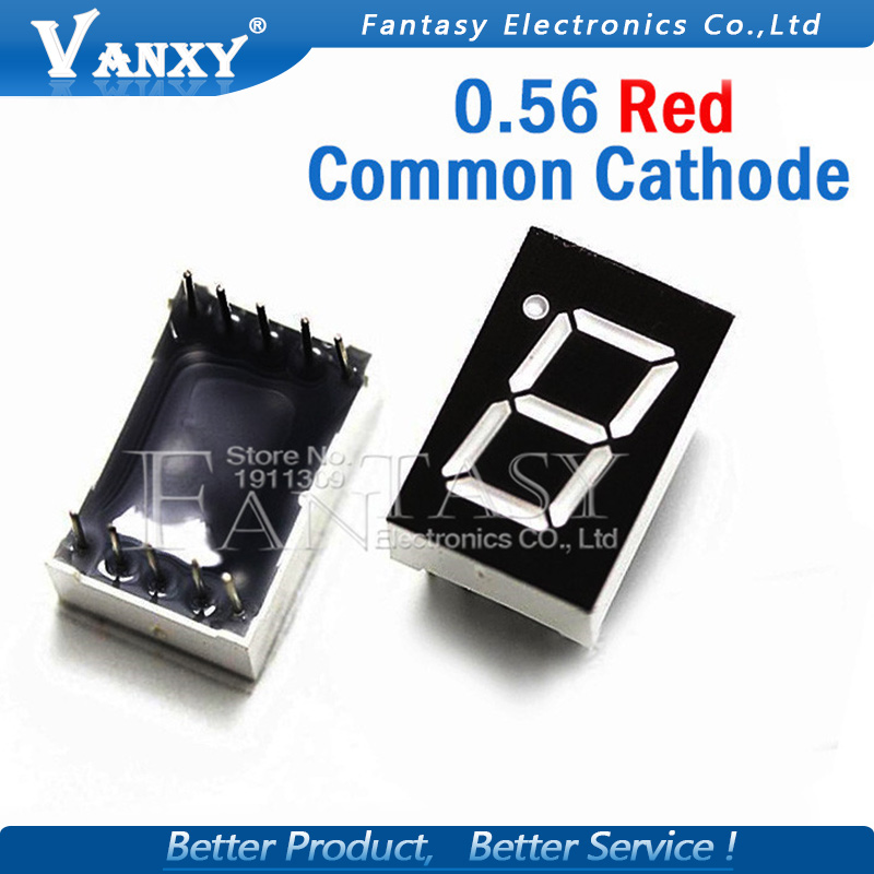 "5pcs 7 Segment 0.56 In Common Cathode 1 Bit Digital Tube 0.56"" Inch 0.56in. Red LED Display LED Digital Tube"