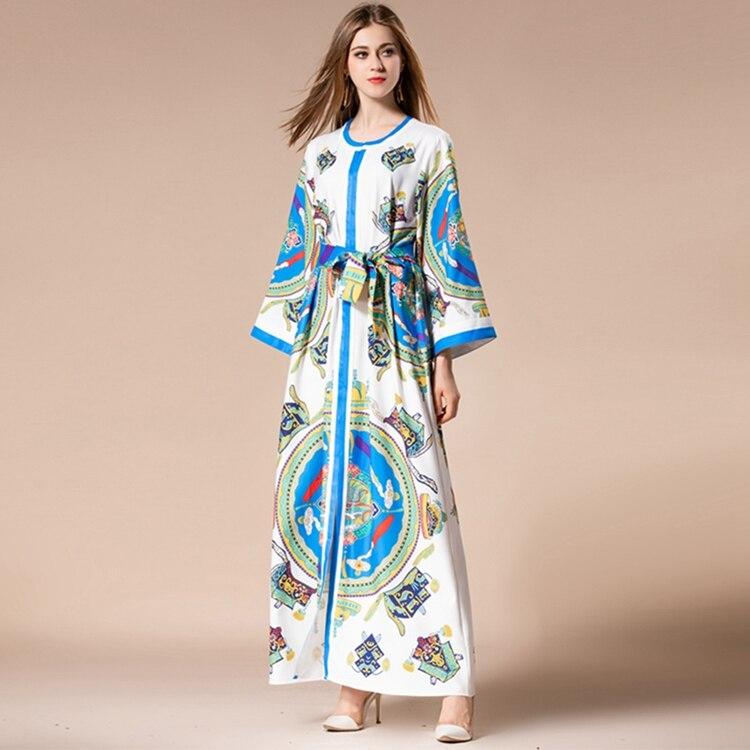 Haute Bleu Nouvelle Impression Manches Poignet Maxi Piste Taille Femmes 2018 Automne Mince Robe Designer Qualité Lâche Hq8SwrxaH