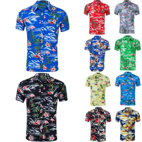 Fashion Hawaiian Shirt Mens Flower Beach Aloha Party Casual Holiday Short Sleeve Plus Size S-2XL