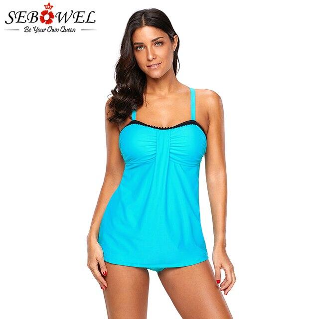 c042b1beb92 SEBOWEL Light Blue Tankini 2pcs Swimwear 2019 Summer Women Sexy Sporty Tankini  Swimsuit Swimming Suit Plus