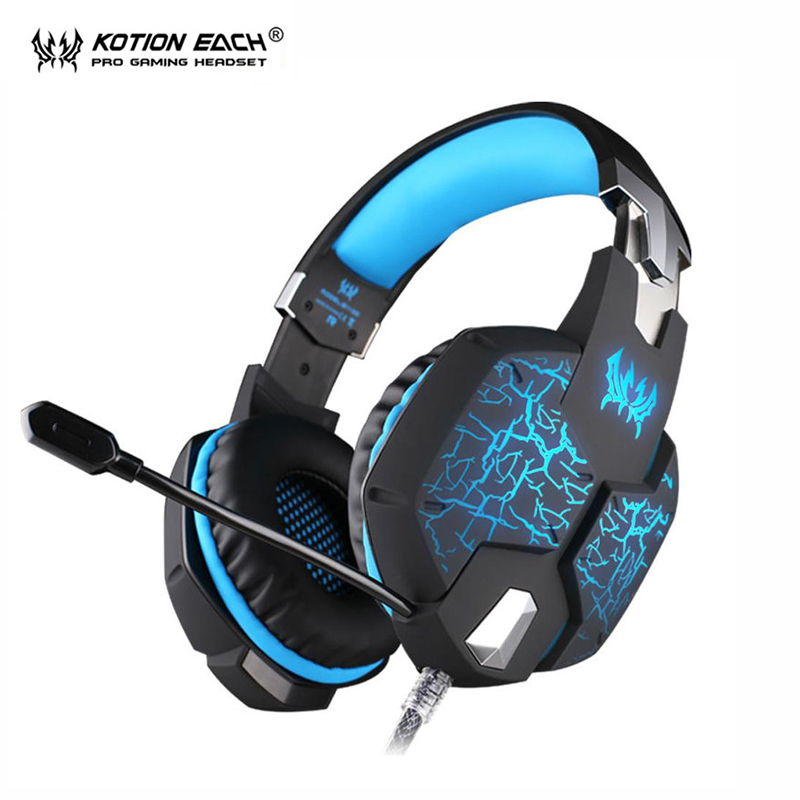 KOTION EACH G1100 Deep Bass Gamer Headset Stereo Surrounded Gaming Headphone Headband Earphone with LED for Computer Game g1100 3 5mm pro gaming headset headphone for ps4 laptop crack pattern led led blue black red white