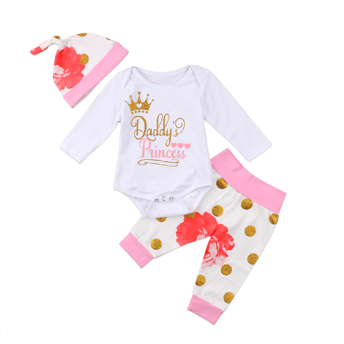 Newborn Kids Baby Girls Clothes Long Sleeve Romper Jumpsuit Bodysuit+Pants+Hat Outfits Set