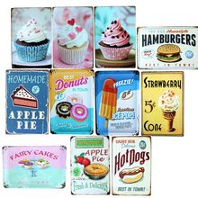 Cake Hot Dog Metal Painting Vintage Sign  Wall Bar Home Art Decor Living room kitchen Cuadros 30X20CM A-5217