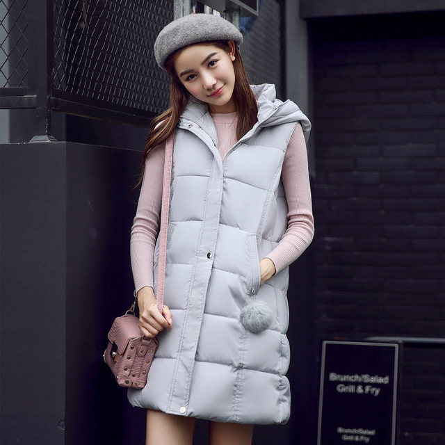 Womens Winter Vests Waistcoat 2016 Down Cotton Padded Hooded Warm Vest Female Sleeveless Jacket Ladies Gray/Black/Pink Long Vest