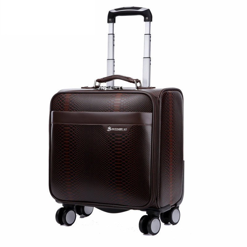 цена на 18 INCH Snakeskin PU Trolley Luggage Suitcase on wheels Case Men's Business Suitcase Women Travel Bag Rolling Luggage mala
