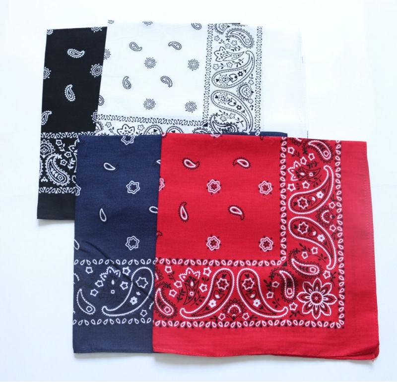 Cotton Paisley Bandanas Men Pocket Square Black Red White Ladies Headband Women Headscarf Handkerchief SUJASANMY TJ9047