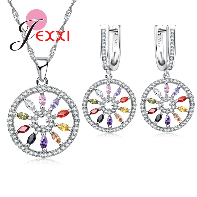 Wedding-Jewellery-Set Necklace-Sets Earrings Crystal Cubic-Zircon 925-Sterling-Silver