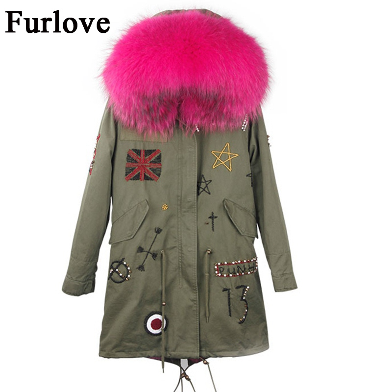 Womens Winter Jacket Women Coat Jackets Real Raccoon Fur Collar Coats Warm Thick Fox Fur Parka Embroidery Fashion Long Parkas red stripe fur inside male coats winter wear keen warm elegant real raccoon fur collar cashmere fur parka