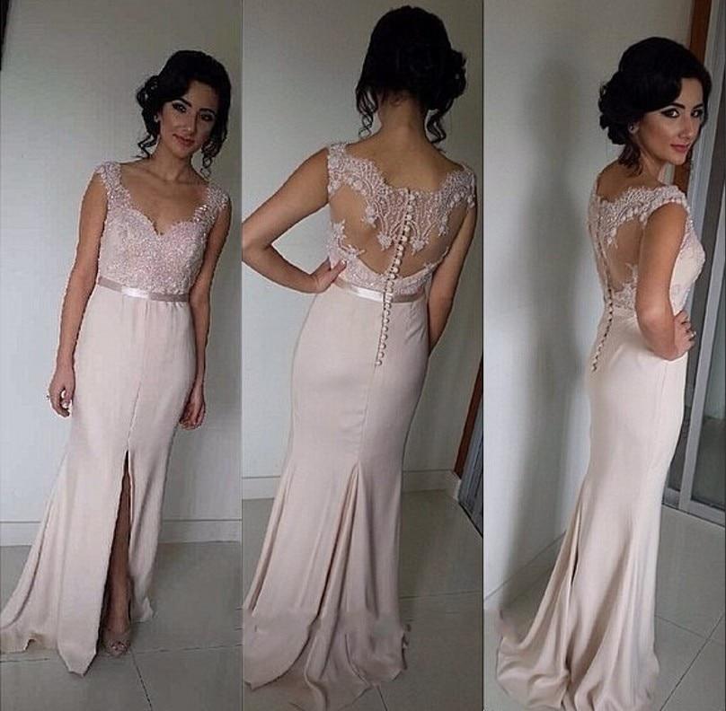 Lace Floor Length Bridesmade Dresses