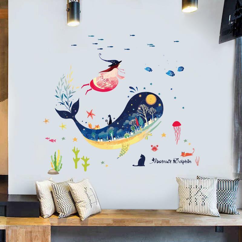 Children Bedroom Cartoon Stickers Whale Decoration Waterproof Stickers