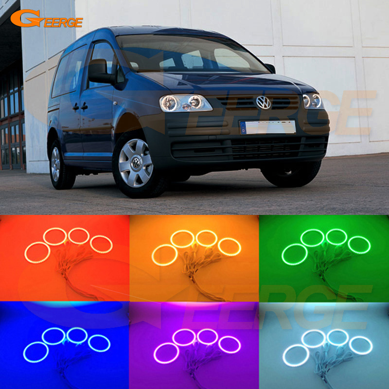 For Volkswagen VW Caddy 2004 2005 2006 2007 2008 2009 Excellent Angel Eyes Multi-Color Ultra bright RGB LED Angel Eyes kit for toyota camry xv40 2006 2007 2008 2009 altise excellent angel eyes multi color ultra bright rgb led angel eyes kit halo rings