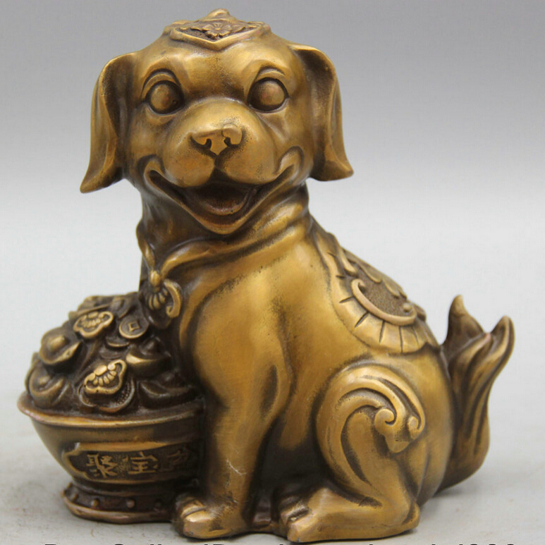 """Collectible bronze S1643 6"""" Chinese Copper Fu treasure bowl Fengshui Zodiac Year Dog Sculpture Statue (B0413)"""