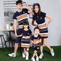 Familia ropa a juego padre boy t shirt y pant clothing clothing set chica y vestido de la madre de algodón a rayas o-cuello de la ropa