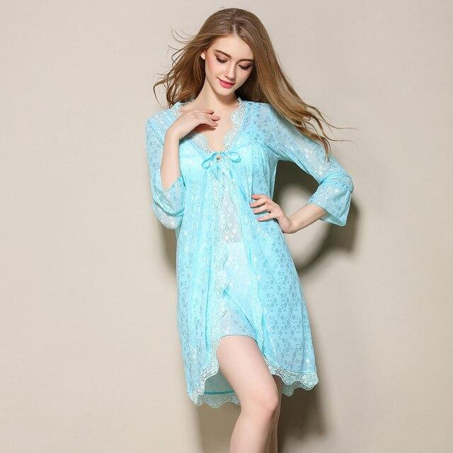2017 Весна Лето женщины ночное v-образным вырезом спагетти ремень платье халат установить высокое качество сексуальные пижамы ночь платье ночные рубашки