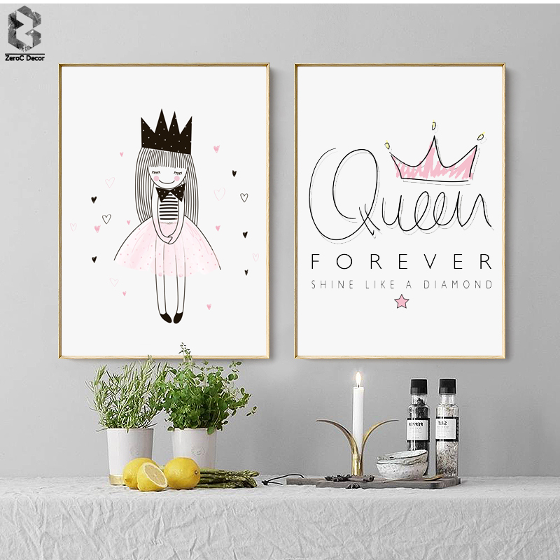 Pink Crown Canvas Art Print Painting Poster Watercolor Girls Wall Pictures For Home Decoration in Painting Calligraphy from Home Garden