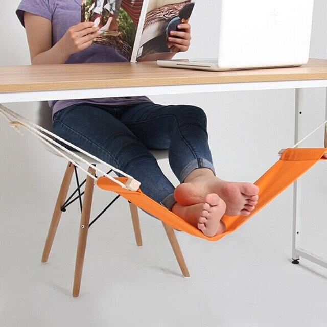 Portable Outdoor Leisure Mini office Foot Rest Stand Desk Feet Hammock Foot Hammock Orange