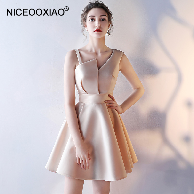 NICEOOXIAO 2018 New Solid Color One Shoulder   Evening     Dress   Short   Evening   Elegant   Dress   Embroidered   Evening     Dress   GDLF67-30