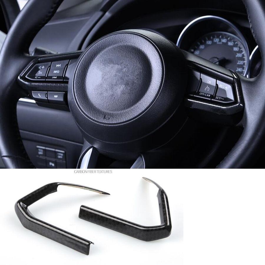 Matte Interior Car Steering Wheel Button Cover Trim for Mazda CX-3 CX3 2015-2018