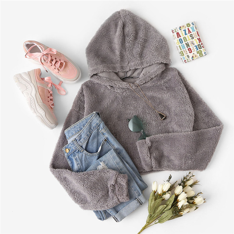 SHEIN Grey Minimalist Solid Drop Shoulder Crop Teddy Hoodie Sweatshirt Autumn Casual Fashion Women Pullovers Sweatshirts 5