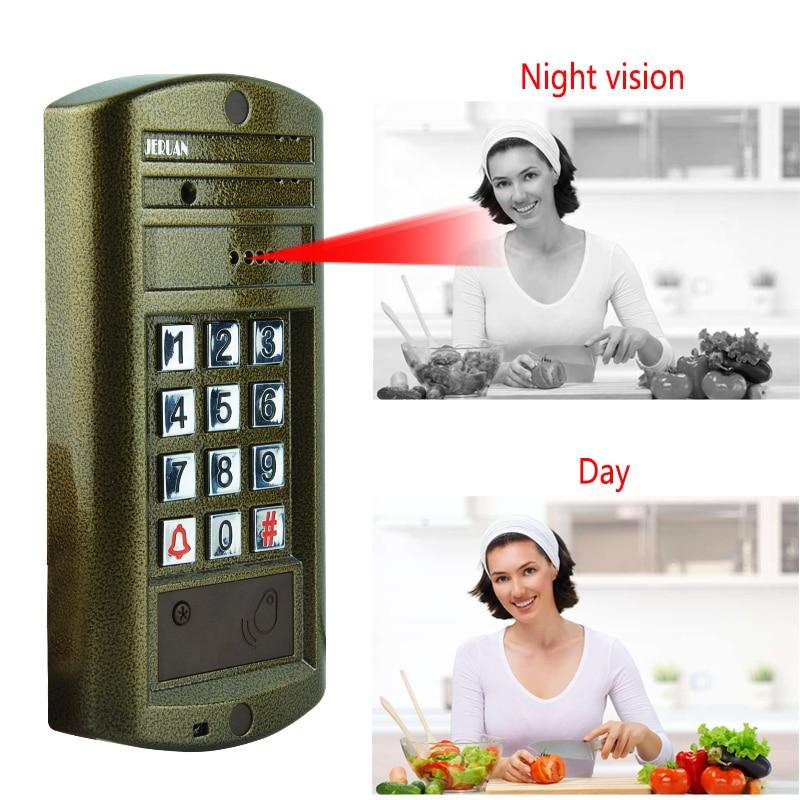 JERUAN Wired 7`` LCD Color Video Door Phone Intercom System kit 3 Monitor +NEW Metal Waterproof Password HD Mini Camera +Power