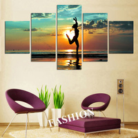 Naked Girl Dancing In Beach Landscape Canvas Painting Printed Seascape Wall Art Decorative Home Pictures Beautiful Woman Poster