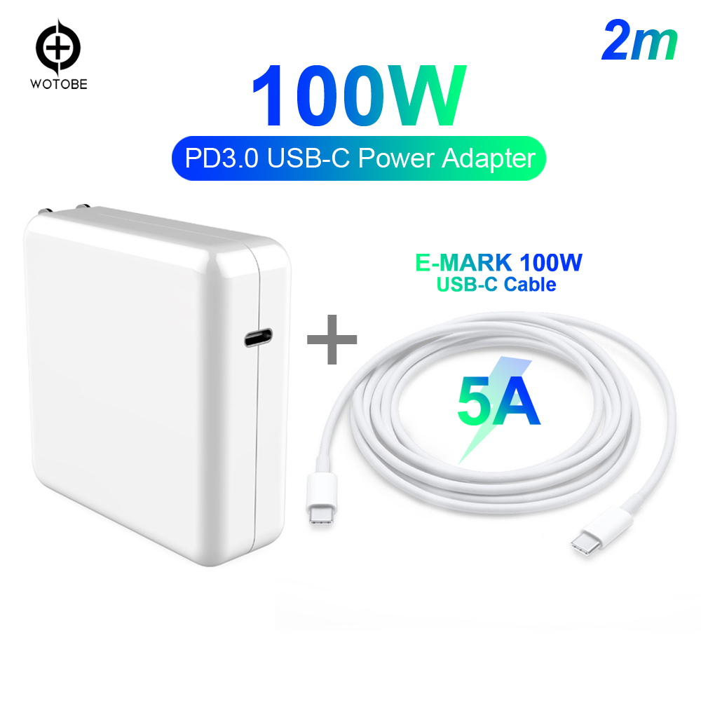 100W USB-C Charge 5A E-mark Cable Power Adapter OR 29W/30W 61W 87W PD Charger For MacBook Pro/Air/iPad DELL MI9 P20/P30/S9/S10
