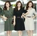 Summer 2015 Women Half Sleeve Dress Women Elegant Office Wear Work Dress Ladies Turn Down Collar Dress With Belt
