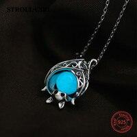 Fit Pandora Beads Original 925 Silver Cute Animal Bat Luminous Growing Charms Pendant Necklace Chain Diy