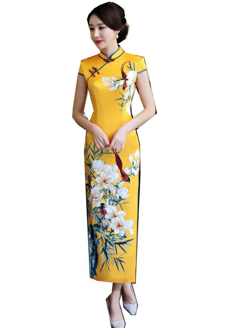 Shanghai Story Faux Silk Qipao Dress Long Cheongsam National Trend Dresses Short Sleeve Slim Traditional Chinese Dress For Woman