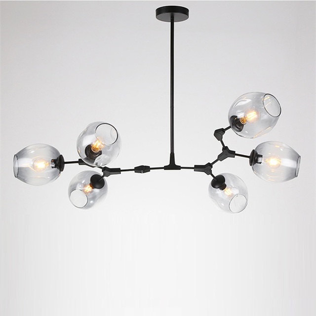 Large Chandelier Lighting Black Flush Mount Ceiling Light Kitchen Island Led Lights Bar Gradual Grey Glass