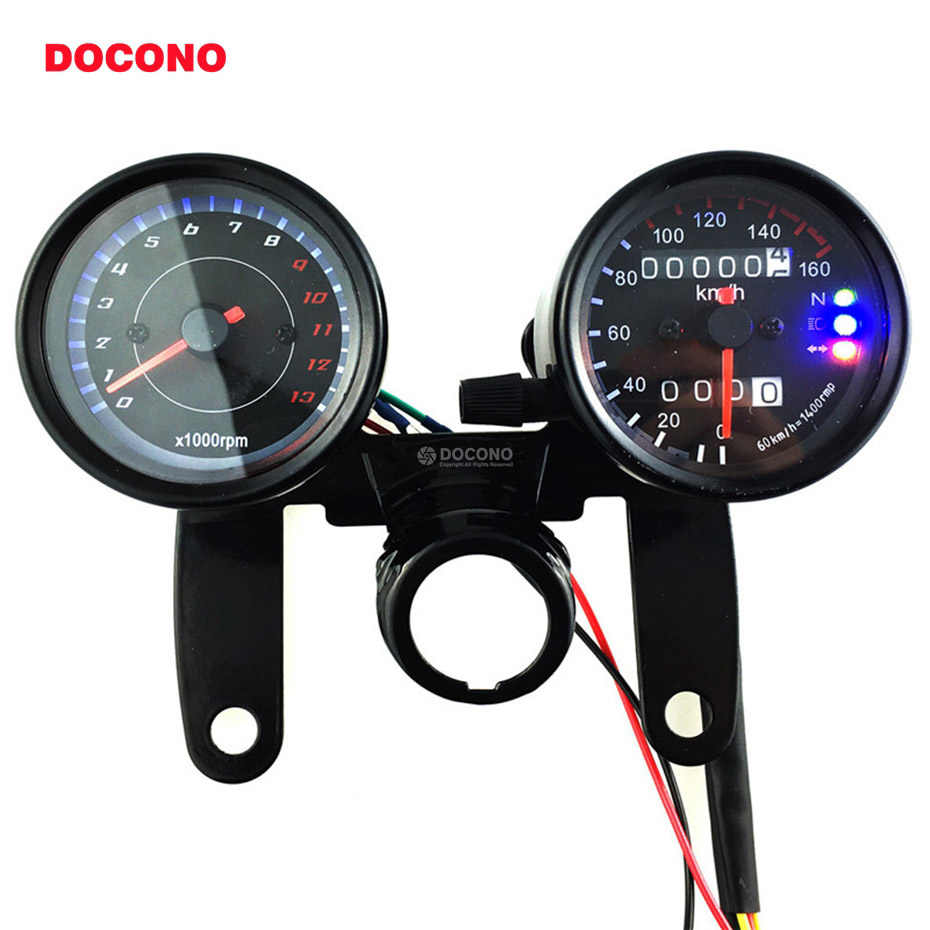 1 set of odometer motorcycle speedometer with led backlight moto instrument  tachometer motorbike accessories scooter gauge