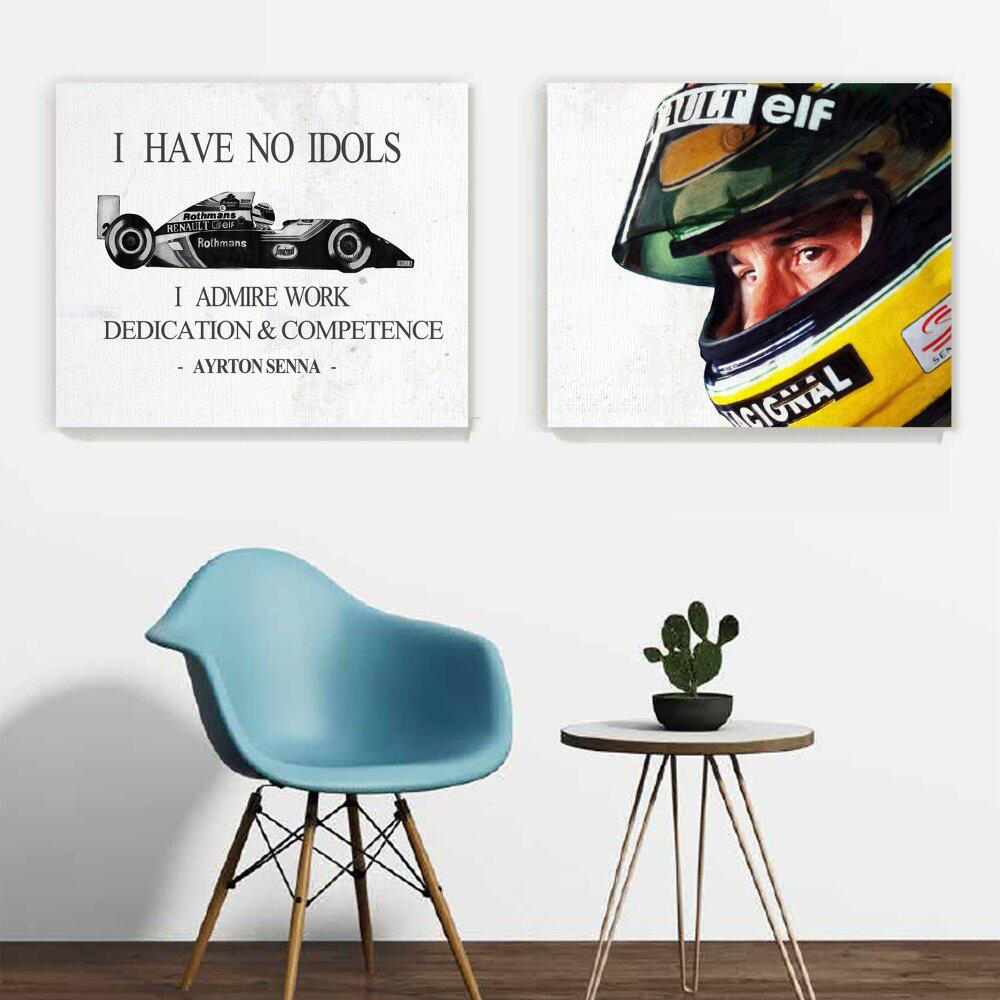 New!wall art 2 IN 1 F1 AYRTON SENNA Poster Prints Canvas Art Painting Modern Home Decor Wall Pictures for Living Room Unframed