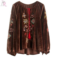 2 Colors Velvet Floral Embroidered Blouse Women Tassel Tied Front Long Sleeve Dipped High Low Hem