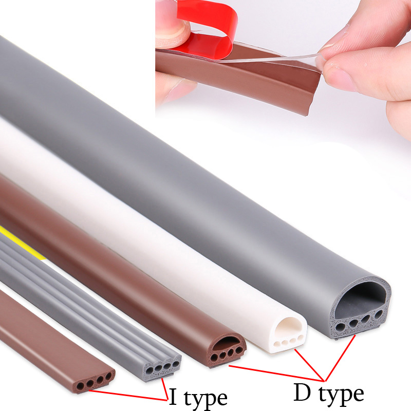 6M/lot I-D Type Silicone Rubber Sealing Strip For Door / Window Sound Insulating Strip Self-adhesive Tape Window Insulation Seal