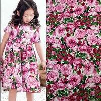 핑크 장미 꽃 인쇄 직물, 100% 면 직물 아기 아이 어린이 의류, 핑크 색상 원단 드레스 바느