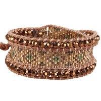 CQUAN CHI 1Pcs Fashion Style Multilayers Crystal Beaded Bracelet Adjustable Brown 3Wrap Leather Bracelets&Bangles AZ3W-1506