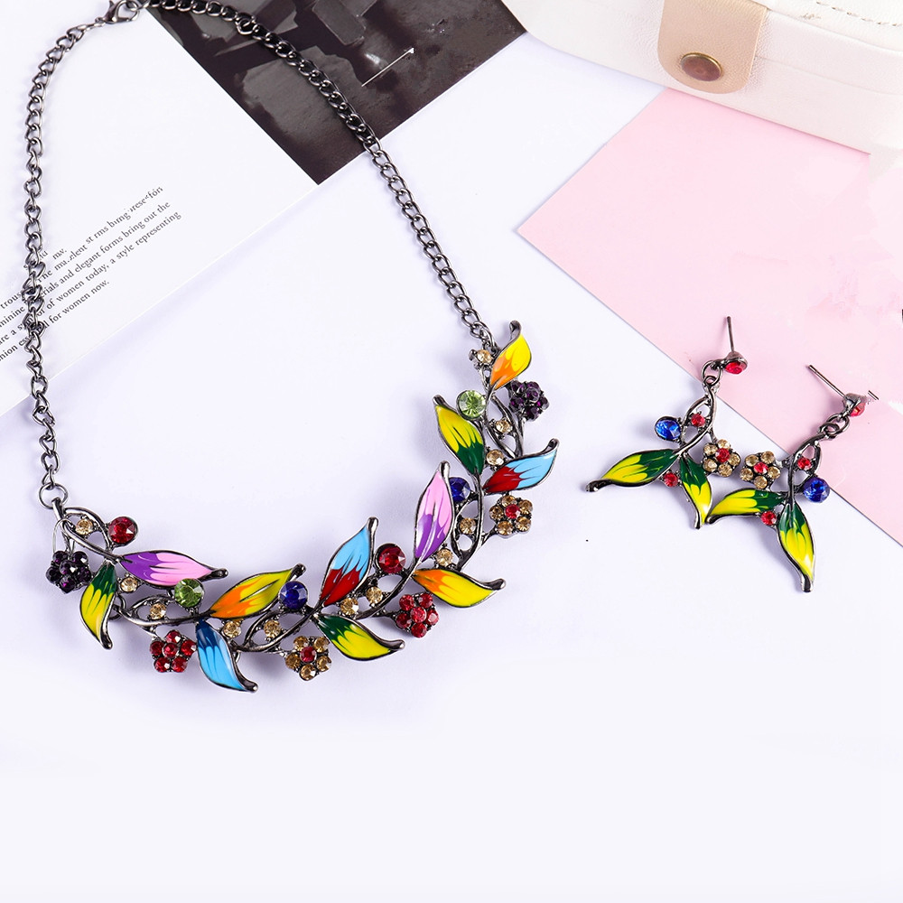 Classic Lucite Wedding Jewelry Set Women Rhinestone Earrings Multicolor Floral Collar Necklace