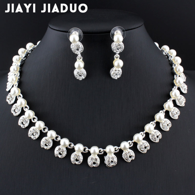 jiayijiaduo Bridal jewelry sets simple fashion imitation pearl Silver color necklace  for women wedding accessories Love gift